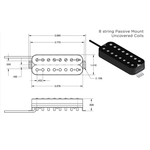 SEYMOUR DUNCAN DISTORTION 8 STRING BRIDGE HUMBUCKER PASSIVE MOUNT BLACK